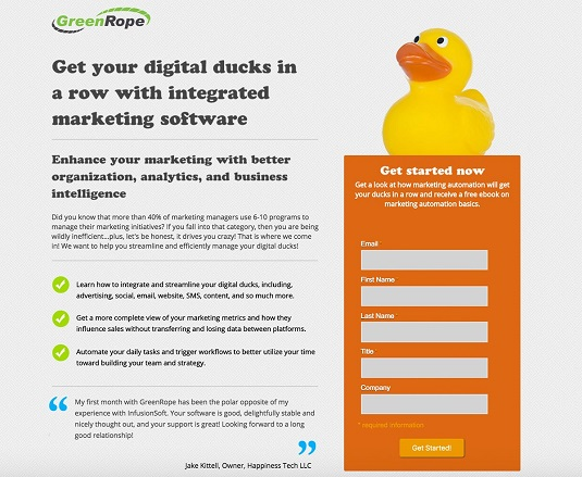 landing page CRM