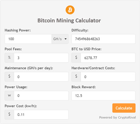 cryptocurrency mining calculator with difficulty