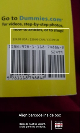 Using the barcode scanner in the eBay mobile app.