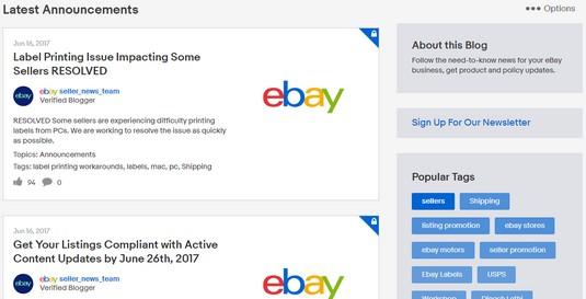 eBay Announements board