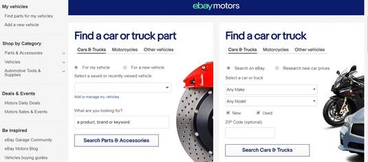 eBay motors home page