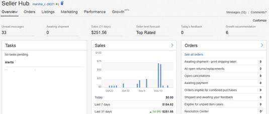 SEller Hub overview eBay