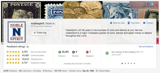 business Profile page eBay