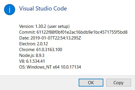 VS Code About dialog box