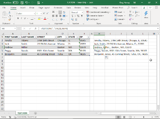 Using TEXTJOIN to combine text entries in an Excel table.