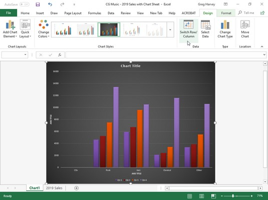 switching rows and columns in Excel chart