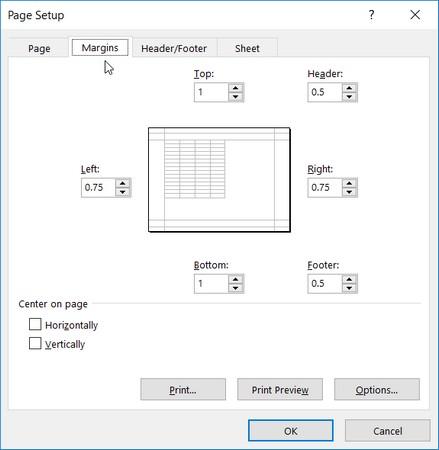 adjust margins in Excel 2019