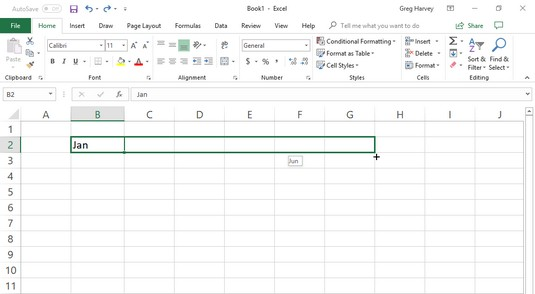Excel 2019 AutoFill row of months