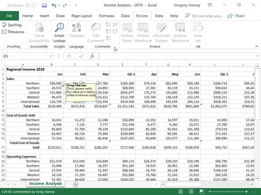 cell comment Excel 2019