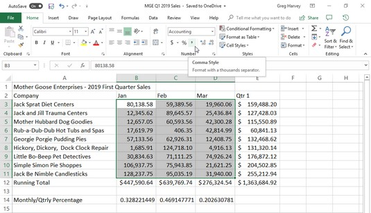 Comma Style number format Excel 2019