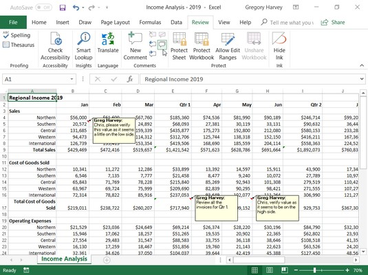 comments in review Excel 2019