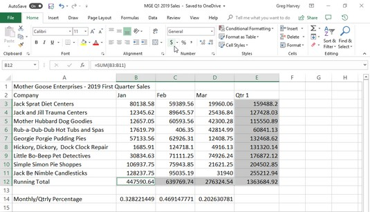 General formatting in Excel 2019