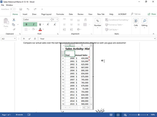 editing embedded Excel data