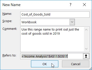 Excel range names in Excel worksheet