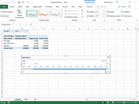 Excel pivot table filtered with timeline
