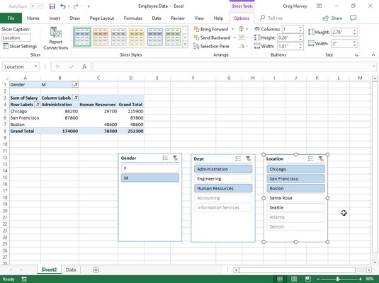 filtered Excel pivot table