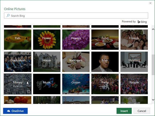 Online Pictures dialog box Excel 2019