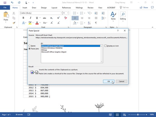 Word Paste Special dialog