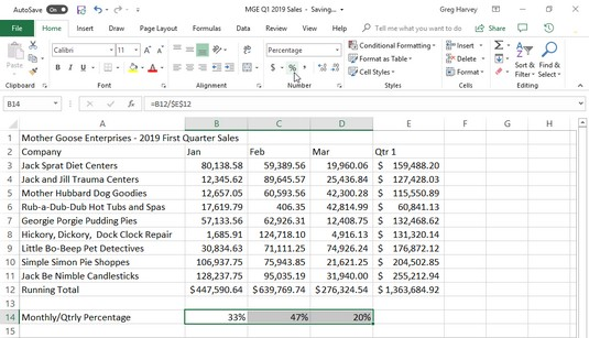 Percentage number formatting Excel 2019