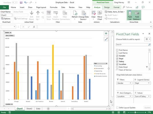 Excel 2019 pivot chart