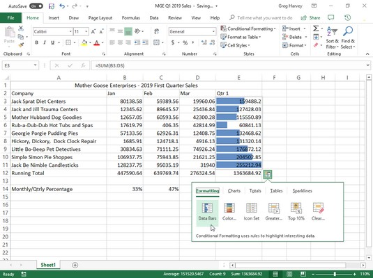 Quick Analysis tool Excel 2019