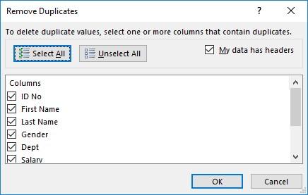 Remove Duplicates Excel 2019