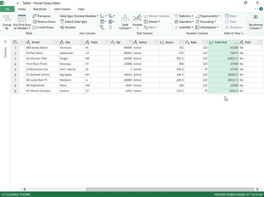 filtering and sorting criteria Excel 2019 Power Query Editor
