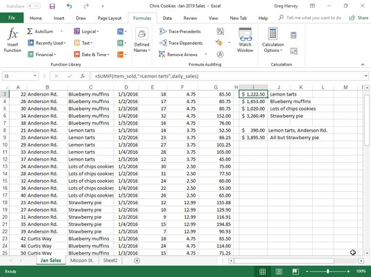 Excel 2019 SUMIF