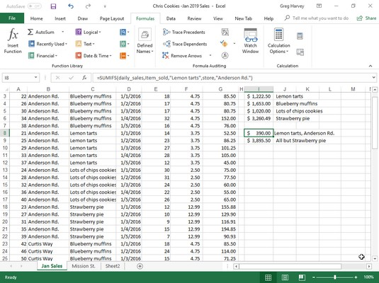 Excel 2019 SUMIFS