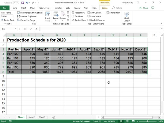 Table Tools Excel 2019