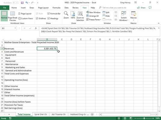 Total Income worksheet in Excel 2019