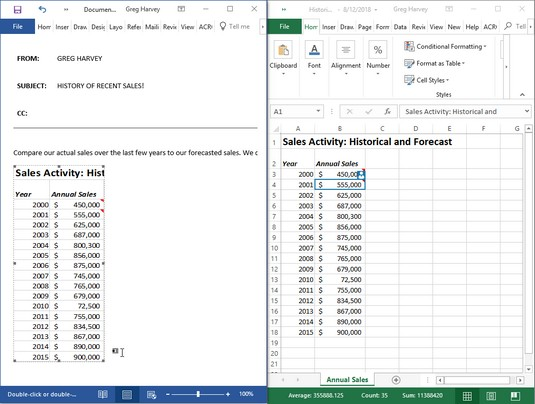 Word memo after copying Excel data