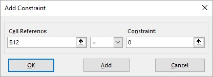 Add Constraint dialog Excel