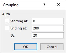 Grouping dialog in Excel