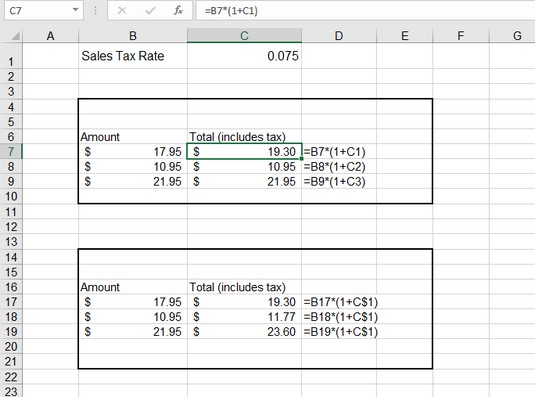 changing a reference in Excel