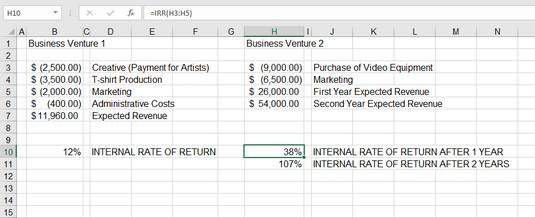 compare return Excel IRR