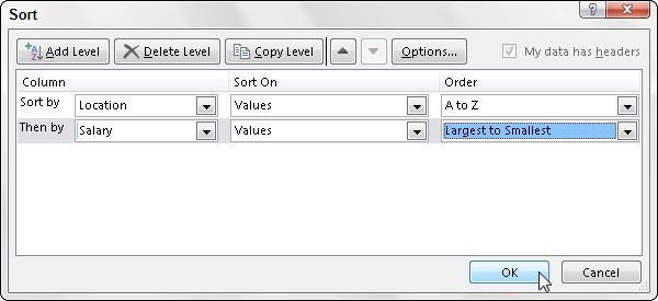 How to Sort on Multiple Fields in an Excel 2019 Data List