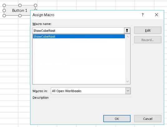 Assign Macro dialog box Excel VBA