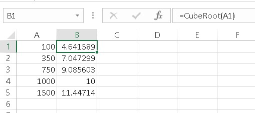 using CubeRoot function in Excel formulas