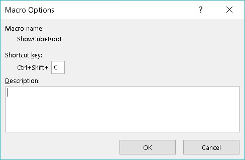 Macro Options dialog box Excel VBA
