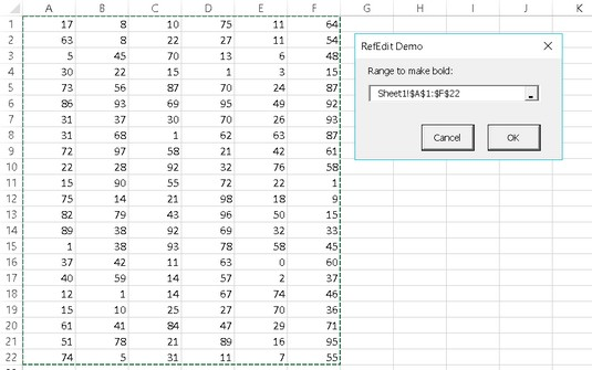 selecting and Excel VBA range