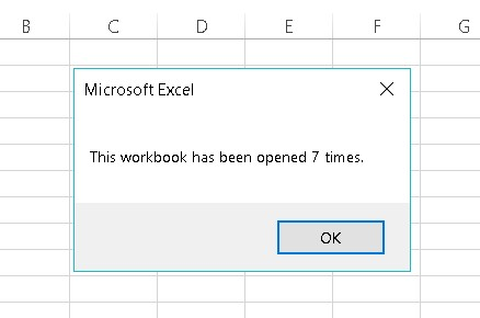 Workbook_Open event-handler Excel VBA example