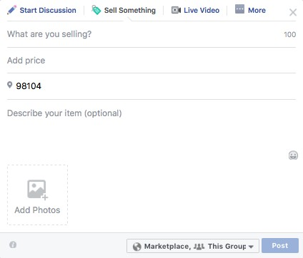 buy sell listing Facebook