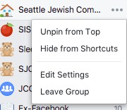 unpin shortcut Facebook