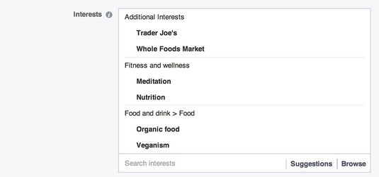 Facebook ads interests