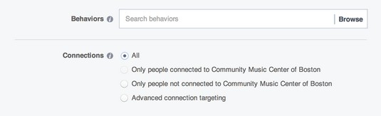 target Facebook connections