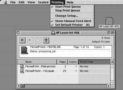 The custom printer window in a Mac.