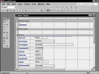 Design view screen on Access 2002.