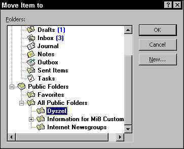 Moving an item in Outlook 2002.