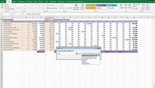 editing conditional formatting color financial model